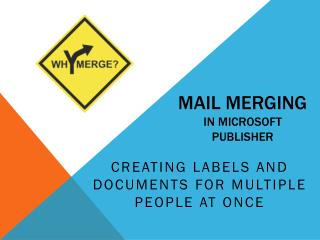 Mail Merging in Microsoft Publisher