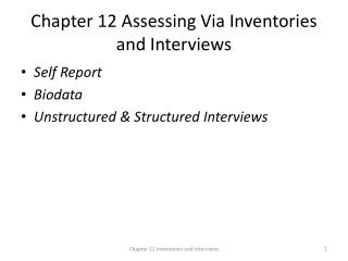 Chapter 12 Assessing Via Inventories and Interviews
