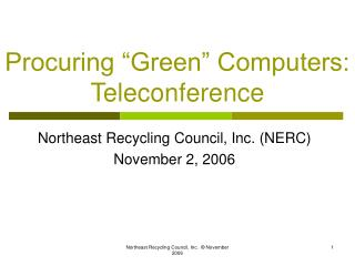 "Procuring ""Green"" Computers: Teleconference"