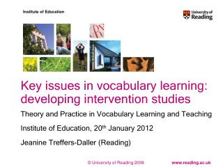 Key issues in vocabulary learning: developing intervention studies