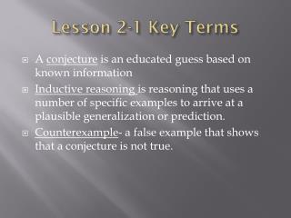 Lesson 2-1 Key Terms