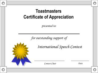 Toastmasters Certificate of Appreciation
