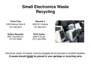 Small Electronics Waste Recycling