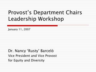 Provost's Department Chairs Leadership Workshop