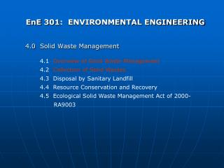 EnE 301:  ENVIRONMENTAL ENGINEERING