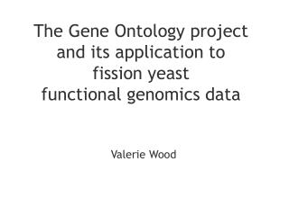 The Gene Ontology project and its application to  fission yeast  functional genomics data