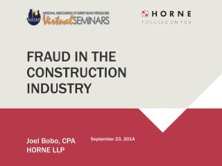 FRAUD IN THE  CONSTRUCTION  INDUSTRY