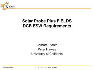 Solar Probe Plus FIELDS DCB FSW Requirements