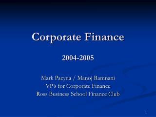 Corporate Finance 2004-2005
