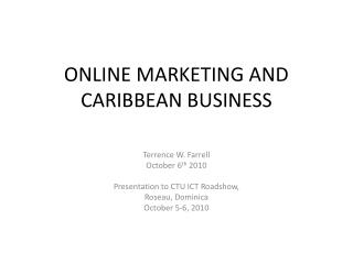 ONLINE MARKETING AND CARIBBEAN BUSINESS