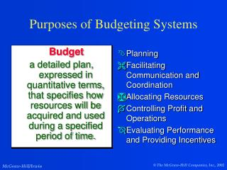 Purposes of Budgeting Systems