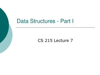 Data Structures - Part I