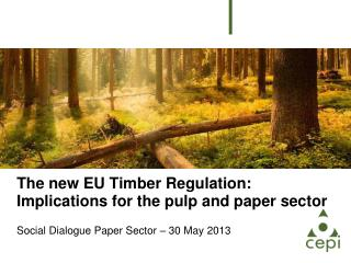 The new EU Timber Regulation: Implications for the pulp and paper sector