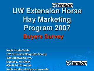 UW Extension Horse Hay Marketing Program 2007