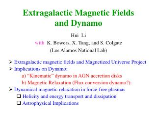 Extragalactic Magnetic Fields and Dynamo
