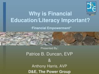 Why is Financial Education/Literacy Important?