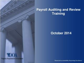 Payroll Auditing and Review Training       October 2014