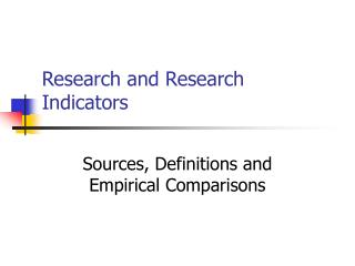 Research and Research Indicators