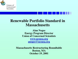 Renewable Portfolio Standard in Massachusetts