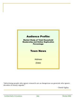 Audience Profile: Market Study of Total Household Readership and Online Duplication Percentage