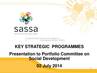 KEY STRATEGIC  PROGRAMMES  Presentation to Portfolio Committee on Social Development 02 July 2014