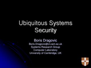 Ubiquitous Systems Security