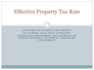 Effective Property Tax Rate