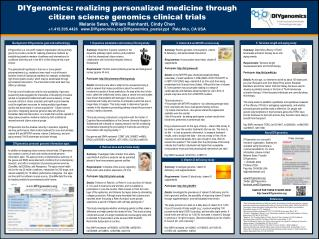 DIYgenomics: realizing personalized medicine through citizen science genomics clinical trials
