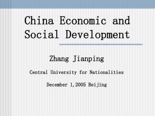 China Economic and Social Development