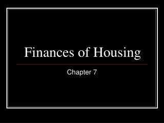 Finances of Housing