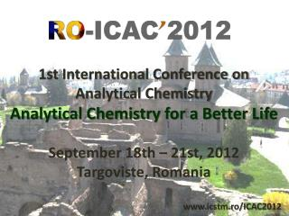 1st International Conference on Analytical Chemistry Analytical Chemistry for a Better Life