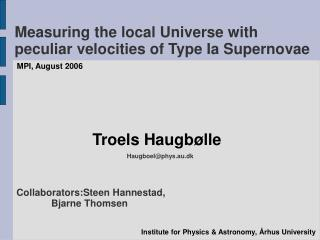 Measuring the local Universe with peculiar velocities of Type Ia Supernovae