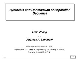 Synthesis and Optimization of Separation Sequence