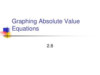 Graphing Absolute Value Equations