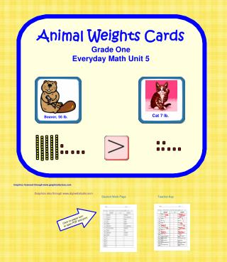 Animal Weights Cards Grade One Everyday Math Unit 5