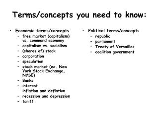 Terms/concepts you need to know: