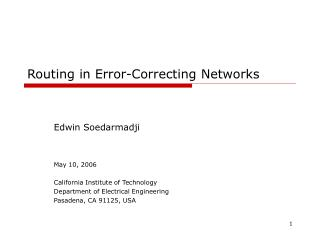 Routing in Error-Correcting Networks