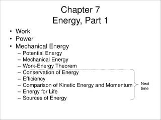 Chapter 7 Energy, Part 1