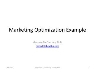 Marketing Optimization Example