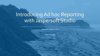 Introducing Ad hoc Reporting with Jaspersoft Studio