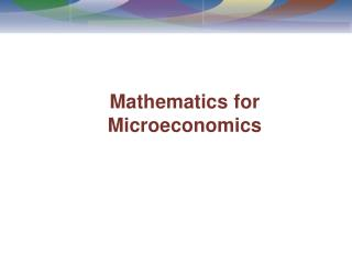 Mathematics for Microeconomics