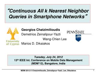 """ Continuous All k Nearest Neighbor Queries in Smartphone Networks """