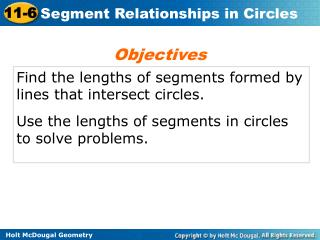 Find the lengths of segments formed by lines that intersect circles.