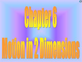 Chapter 6 Motion in 2 Dimensions
