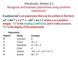 Precalculus   Section 2.1 Recognize and evaluate polynomials using synthetic substitution.