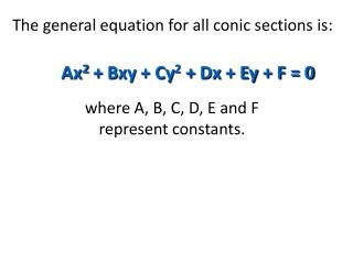 The general equation for all conic sections is: