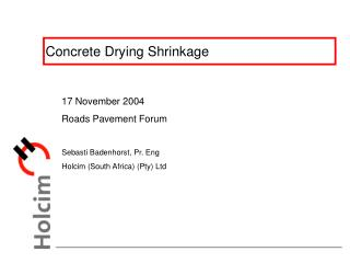 Concrete Drying Shrinkage