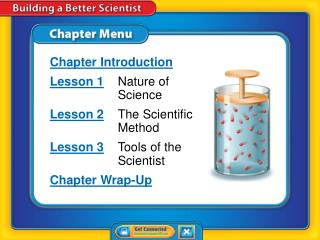Chapter Introduction Lesson 1 	Nature of 	Science Lesson 2 	The Scientific 	Method