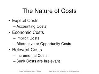 The Nature of Costs