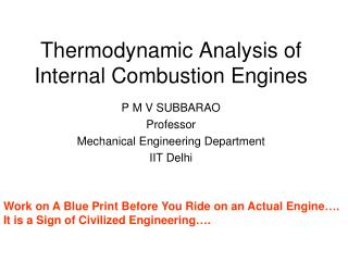 Thermodynamic Analysis of Internal Combustion Engines
